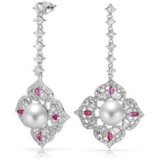 Bling Jewelry Bling Jewelry Red Cz Simulated Pearl Flower Drop... ($40) ❤ liked on Polyvore featuring jewelry, earrings, white, drop dangle earrings, cz drop earrings, red dangle earrings, dangle earrings and long earrings