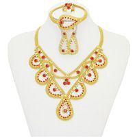 Women Jewelry Sets 18k Gold Plated Crystal Necklace Earrings 2016 Dubai Fashion Ruby  Wedding Jewelry Sets Wholesale