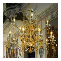 Kolarz Principessa 15 Lamp Swarovski Crystal Chandelier in Gold