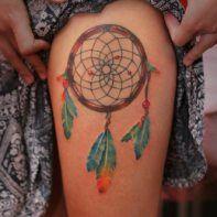 Dreamcatcher tattoo on feet