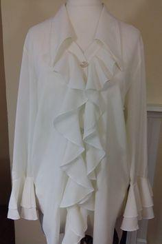 Retro 80s White New Romantic Ruffle Blouse Vintage by MollyTops