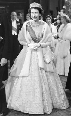 H.M Queen Elizabeth II at the Royal Opera House Covent Garden during the State Visit of the President of Portugal 1954