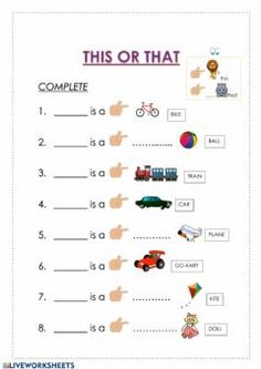 This or That Language: English Grade/level: grade School subject: English as a Second Language (ESL) Main content: Demonstratives Other contents: This or that, grammar English Grammar For Kids, Learning English For Kids, Teaching English Grammar, English Lessons For Kids, English Language Learning, French Lessons, German Language, Spanish Lessons, Japanese Language