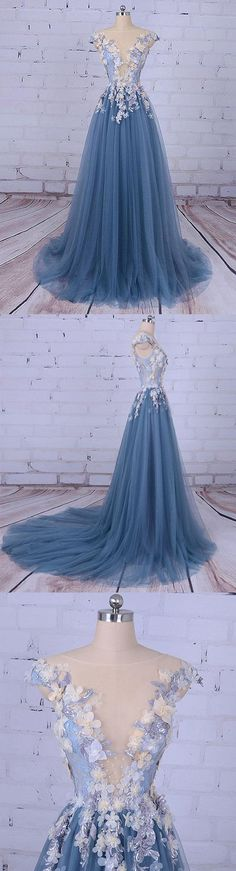 Beautiful Prom Dresses Scoop A-line Sweep/Brush Train Long Prom Dress/Evening Dress
