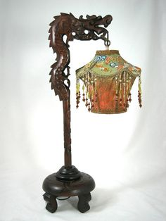 SOLD - Antique Chinese Dragon Lantern Lamp Victorian