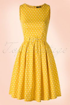 Dolly and Dotty Lola Classic Polkadot Dress in yellow 102 89 18321 02172016 008W