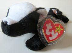 beanie baby stinky skunk | STINKY Skunk Ty Beanie Babie Retired 1995 Original Black White Plush ...