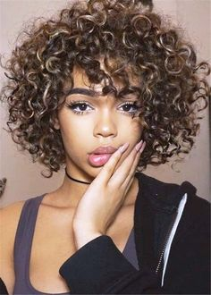 Wig Curly Hair With Bangs, Short Curly Hair, Wavy Hair, Curly Hair Styles, Natural Hair Styles, Afro Hair, Thin Hair, Curly Bob Hairstyles, Hairstyles With Bangs