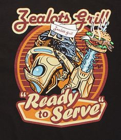 J!NX : StarCraft Protoss Ready to Serve T-Shirt - Clothing Inspired by Video Games & Geek Culture