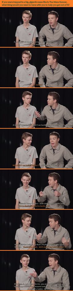 Thomas Brodie-Sangster (Newt) and Will Poulter (Gally) from The Maze Runner.
