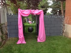 The entrance to my daughters princess b-day party. Made from cardboard......and paint. The girls loved it!