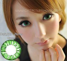 Dark.223 - 2 Tones Green color Korean circle lens.  | Shop @ ContactLensHouse.com