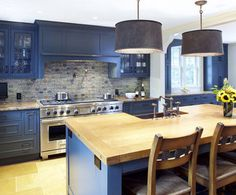a kitchen with color!  I am so sick of white. traditional kitchen by Jonathan Cutler, AIA