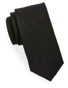 Black Brown 1826 Textured Silk Tie Men's Black