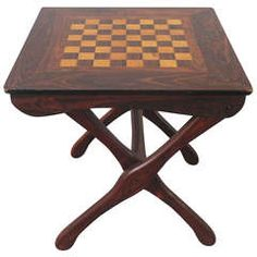 Don Shoemaker Folding Chess Table Tropical Woods