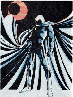 super-nerd: Moon Knight by Kevin Nowlan Marvel Comic Universe, Marvel Comics Art, Marvel Comic Books, Comics Universe, Marvel Fan, Comic Book Characters, Marvel Heroes, Marvel Characters, Comic Books Art