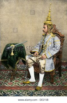 Rama V (Chulalongkorn), King of Siam, in his royal attire, circa - from Alamy's library of millions of high resolution stock photos, illustrations and vectors. King Of Kings, My King, Thailand Pictures, King Thailand, Wind Pictures, Bhumibol Adulyadej, Hand Coloring, Royalty, Old Things
