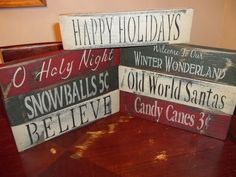 VTG CHRISTMAS Wood Signs Aged & Distressed Weathered Rustic Shelf Sitters Decor #handmade