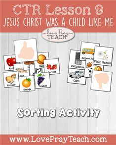 """LDS Primary 2 CTR Lesson 9: """"Jesus Christ Was a Child like Me"""" Lesson helps include do it yourself scrolls, coloring page, sorting activity and more!"""