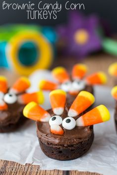 Brownie Turkeys made with Candy Corn