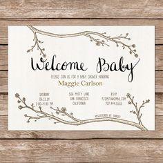 Printable Invite / woodland theme / calligraphy / DIY Baby Shower on Etsy… Printable Baby Shower Invitations, Baby Shower Printables, Baby Shower Themes, Baby Boy Shower, Baby Shower Decorations, Shower Ideas, Woodland Theme, Woodland Baby, Calligraphy Diy