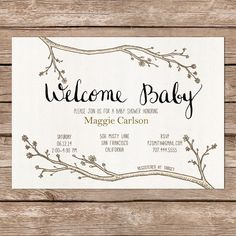 Printable Invite / woodland theme / calligraphy / DIY Baby Shower on Etsy, $10.00