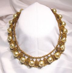 Miriam Haskell 1930's Pearl And Fligree Bead Collar Necklace*SOLD*