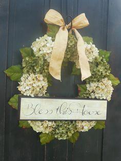 Spring Hydrangeas Front Door Wreaths Traditional Wreaths by bndd