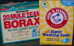 BORAX VS. WASHING SODA   Washing soda more of a laundry booster (water softener); Borax more of a general cleaner as well as laundry booster.    When you use borax in the washing machine, do not add bleach because of the danger of toxic fumes.  Both are safe for septic, plumbing and machines.