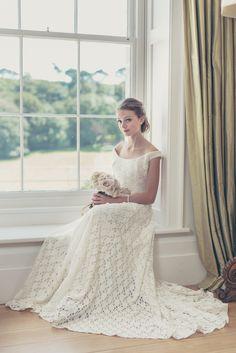 Christine Trewinnard elegant lace wedding dress.