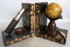 Antique Replica Telescope & Globe Bookends  * NEW *