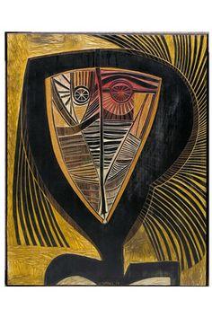 'Totem Figure,' (1973) wood panel by Cecil Skotnes