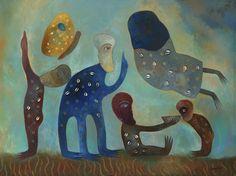 Manuel Mendive Hoyo (Cuban, born 1944) Se Alimenta el Espiritu, 2001 Acrylic on canvas  29.5 x 39 in. – 74.93 x 99.06 cm. Private Collection, Miami