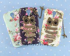 Antique bronze owl Samsung Galaxy S4 case,Flowers Samsung Galaxy S4 I9500 case,Cute owl Samsung case cover