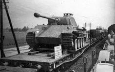 Panzerkampfwagen V Panther ausf G on rail car Mg 34, Ww1 Tanks, Tank Wallpaper, Rail Car, Armored Fighting Vehicle, German Army, Armored Vehicles, War Machine