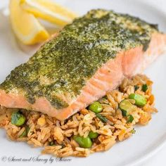 Fool-proof method for delicately tender and juicy baked salmon every time! You'll love melt-in-your-mouth buttery layers infused with flavorful pesto sauce!
