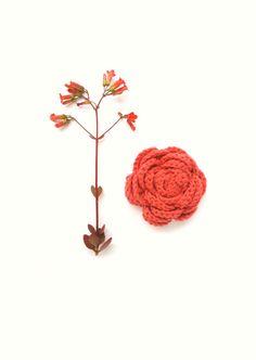 Brooch Salmon Coral Flower Brooch Coral Crochet by VeraJayne