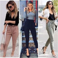 """Calça cintura alta com amarração (modelo clochard), confortável e bonita, essa modelagem de calça faz o estilo """"formal-urbano? Contemporâneo ... cool.#clochardpants"""