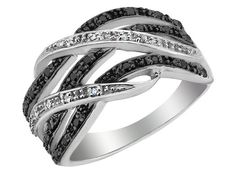 White and Black Diamond Ring 1/5 Carat (ctw) in Sterling Silver