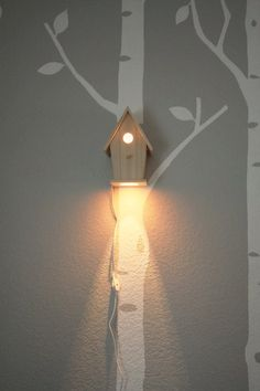 Birdhouse lamp - love it used in conjunction with the wall prints. I am so going to steal that for my daughters room