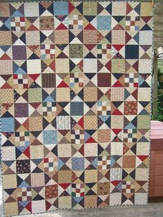 """Cinderella - a Sally Schneider quilt pattern.From the book """"Scrap Happy: Quick-Pieced Scrap Quilts"""" 9 Patch Quilt, Star Quilts, Mini Quilts, Scrappy Quilts, Plaid Quilt, Civil War Quilts, Patriotic Quilts, Country Quilts, Traditional Quilts"""