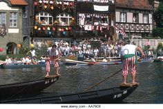 Germany Bavaria Frankonia city of Bamberg scene at the traditional festival of Fischerstechen every year