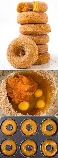 Pumpkin Doughnuts ~ these are the best fall doughnuts ever!