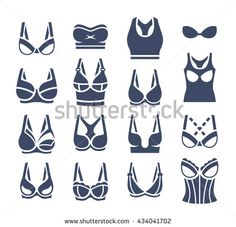 Bra design vector flat silhouettes icons set. Female underwear styles pictogram collection. Lingerie fashion infographic elements. Woman wardrobe garments. Various clothes symbols, isolated on white - stock vector