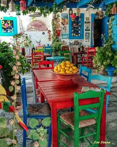 Color Me Greece ~ Kos greece, traditional village Bohemian House, Bohemian Decor, Deco Restaurant, Mexican Home Decor, Mexican Patio, Mexican Kitchen Decor, Mexican Art, Deco Originale, Outdoor Furniture Sets
