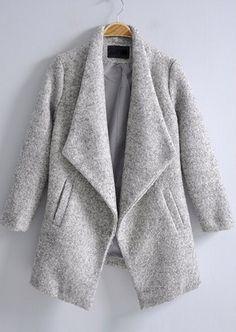 Light Grey Lapel Long Sleeve Pockets Coat