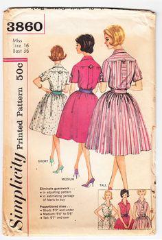 df5d8f58d56617 Items op Etsy die op Vintage 1961 eenvoud 3860 naaien patroon missers One  Piece jurk in geproportioneerd maten grootte 16 buste 36 lijken