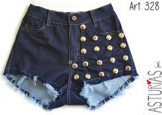 ASTURIAS INDUMENTARIA Short Jean super elastizado, tiro alto, tachas redondas. ART 328