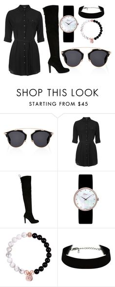 """""""Untitled... 119"""" by thewexknd ❤ liked on Polyvore featuring Christian Dior, Topshop, Stuart Weitzman, black and Dior"""