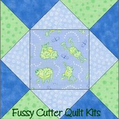 Dancing Frogs Blue Green Baby Fabric Easy Pre-Cut Quilt Blocks Kit